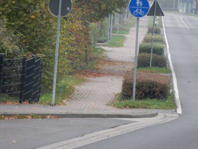 Radverkehr Gelldorf - Gefahrstelle da Bordstein vor dem Radweg